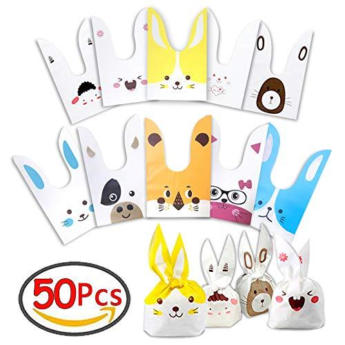 50 Sacchetti Compleanno Bambini Sacchetto per Caramella Confetti Borsa di Regalo Sacchetto Coniglietto di Forma del Coniglio Sacchetti di Biscotto JAANY
