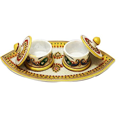 Indian Handicrafts Export Boat Ship Yellow Double Peacock Box Set with Marvel Tray