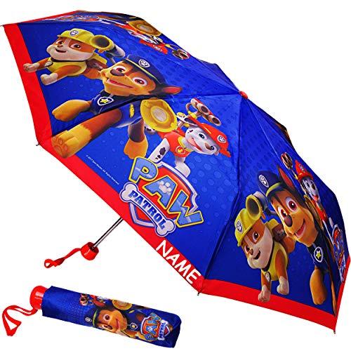 alles-meine.de GmbH Taschenschirm / Kinderschirm -  Paw Patrol - Hunde  - inkl. Name - ø 92 cm - großer Regenschirm / Erwachsenenschirm - für Jungen / Mädchen / Frauen / Männer.. -