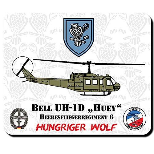 HFlgRgt 6 Heeresfliegerregiment 6 Hungriger Wolf Bell UH-1D HUEY Mauspad #11126 -