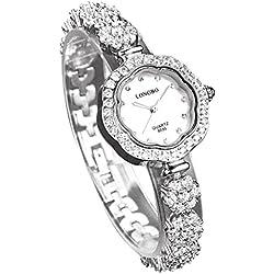 LONGBO Womens Luxury Stainless Steel & Rhinestone Band Bangle Watch Silver Plum Flower Case Bracelet Wrist Dress Watches Fashion Waterproof Lady Rhinestone Crystal Analog Quartz Wedding Watches