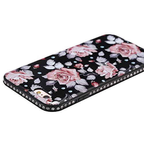 Custodia Cover per iPhone 7 Plus 5.5, JAWSEU Ultra Slim Morbida Soft Custodia Cover Case per iPhone 7 Plus in Gel TPU Silicone Cristallo di lusso di Bling di scintillio lucido Diamante Scintilla per i Floreale #1
