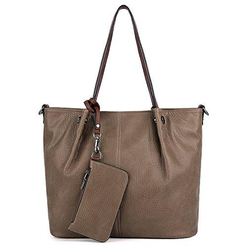 UTO Damen Tasche Handtasche 2 Stück Set Schulter Geldbörse mit Wristlet Wallet Strap Khaki