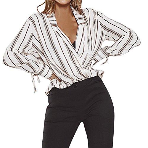 HARRYSTORE Women's Gestreiftes Print V-Ausschnitt Langarm Top Damen Bogen Streifen T-Shirt Ärmel...