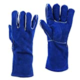 AOLVO Leder Schweißen Handschuhe, hochwertiges Leder Industrie Sicherheit Handschuhe, perfekt für Grill/Kamin/TIG Welder/BBQ, blau 35,6cm