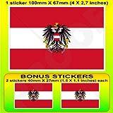 Österreich Österreichische State Flagge 10,2cm (100mm) Vinyl Bumper Aufkleber, Aufkleber X1+ 2Bonus