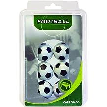 Carromco 62406 Pelotas de futbolin, Unisex, Multicolor (Blanco/Negro), 36 mm Conjunto de 6