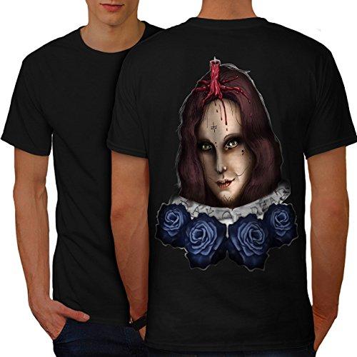 Mädchen Halloween Horror Gesicht Blume Herren M T-shirt Zurück | - Halloween-gesicht Ripper Geist Clown