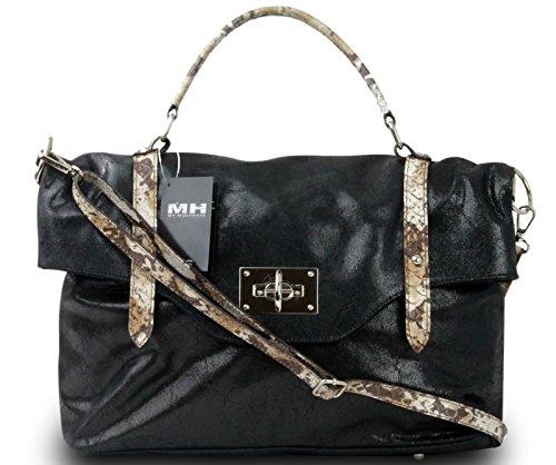 Made in italy sac à main pour femme de luxe serviette cuir sauvage-noir