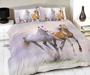 White & Brown Horse / Pony Print Double Duvet Cover & 2 Pillowcase Bedding Bed Set
