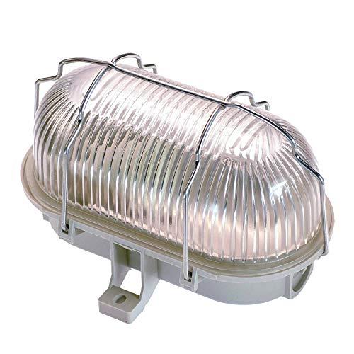 as - Schwabe Ovalleuchte – Gitterleuchte bis 60W - Gehäuse für LED Spot - Deckenleuchte/Wandleuchte - Außenbereich und Innenbereich – Fassung für Feuchtraum Lampe - Hellgrau I 56200
