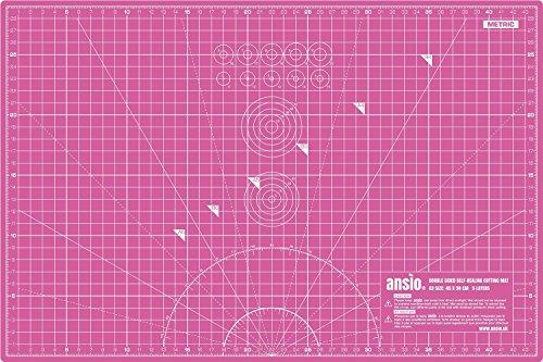 Ansio, Tappetino da taglio autorigenerante a doppia facciata, 5 strati, misure in sistema metrico e imperiale, formato A3, 45 x 30 cm, Rosa/Rosso