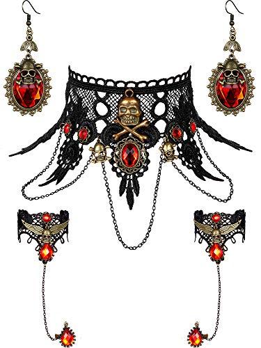 5 Stück Halloween Schwarze Spitze Choker Halskette und Vampire Style Ohrringe und Steampunk Spitze Armband für Mädchen und Frauen im Teenageralter (Stil Satz - Steampunk Kostüm Mädchen