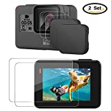 #2: Hapurs Lens Cap and Lens & Screen Protector,2 Pack Protective Lens Cover Case and 2 Set Anti-scratch Tempered Glass Screen and Lens Protector for GoPro Hero 5 Hero 6