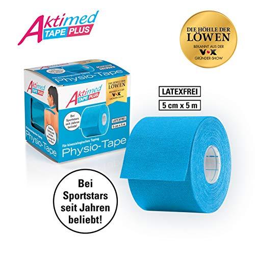 Aktimed Tape PLUS - Physio-Tapes mit pflanzlichen Extrakten - hellblau | Lifting & Massage für die Haut | Kinesiologisches Tape mit speziellem Klebstoff | Atmungsaktiv | Latexfrei | 5 cm x 5 m