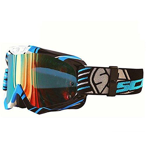 Scoyco Motorrad Gläser MotocrossRennen Ski Snowboard Schneemobil Brille (Blau) (Schneemobil-rennen)
