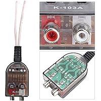 SANON Altavoz del Coche a Adaptador de Nivel RCA Enchufes Altos a Bajos Salida de Línea Automática Convertidor de Audio Amplificador de Subwoofer de Sonido Ajustable