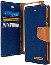 Cool & Creative Canvas Dairy Samsung Galaxy J2 (2018) Premium Flip Cover Leather Case | Inner TPU | Wallet Stand - Blue Canvas