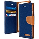 Cool & Creative Canvas Dairy Samsung Galaxy J2 (2016) Premium Flip Cover Leather Case | Inner TPU | Wallet Stand - Blue Canvas