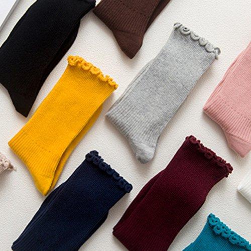 LUOEM Slouch Socken Stricksocken für Damen Mädchen Füße von 35-38 Größen (Grau) - 2