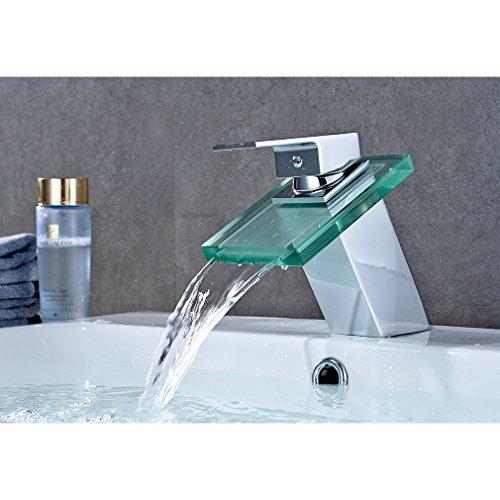Auralum Badezimmer Wasserfall Wasserhahn   Glas Armatur fürs Bad   Waschbecken, Badarmatur, Waschtischarmatur