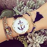 HITOP Damen Vintage Retro Blume Armbanduhr Basel-Stil Rhinestones Fancy Anker Lederarmband Analoge Quarz Uhr Top Watch Schwarz -