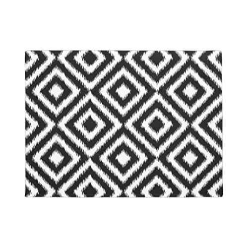 Gummi Fußmatten Retro Schwarz Weiß Ikat Diamant Squares Muster Fußmatte Vorderseite Fußmatte Teppich 60x 40cm