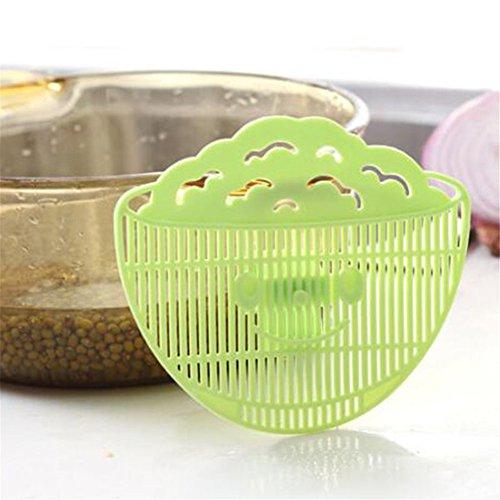 Handlicher Resteschale für Reis waschen Multifunktions-Lächeln, kann Clip Typ Reinigung Sieb Abtropfgestell Gerät Schmutz Filter grün