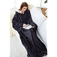 Winthome Long Fleece Blanket with Sleeves, Wearable Blanket Adult Cozy, Soft, Warm, Functional (grey)