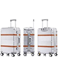 HUANGDA Aluminum Alloy 20//24//26 Inch Metal Suitcase Men and Women Trolley Case Universal Wheel Password Box Luggage Color : Black, Size : 22 inches
