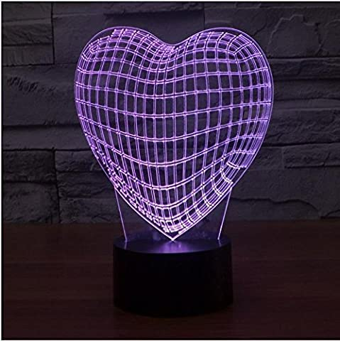Bunte Herzen LED Acryl visuelle Illusion Lampe zurückhaltende Switch 3D bunten Farbverlauf Licht (Illusion Glas Schiff)