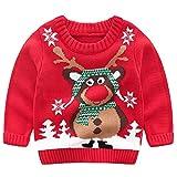 G-Kids Kinder Mädchen Jungen Weihnachtspullover Strickjacken Gestrickt Strickpullover Herbst Winter Langarm Sweater Pullis Rot 90