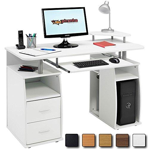 Computer Regal (Computer-Schreibtisch mit Regalen, Schrank und Schubladen für Home Office in Weiß Holzmaserung Effekt–Piranha Möbel Tetra PC 5s)