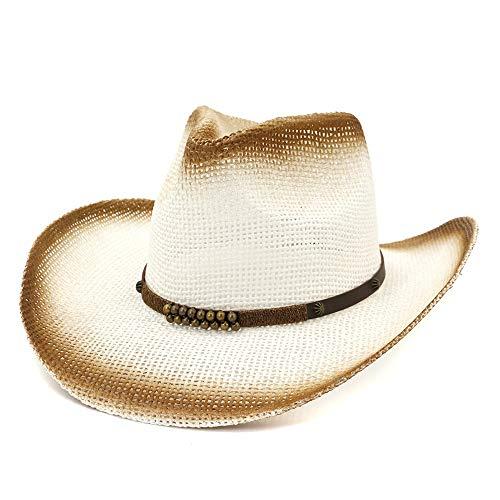 YEEWEN 2019 Mode Unisex Western Cowboyhut Outdoor Strand Stroh Sonnenhut Visier UV Schutz Sprühfarbe Denim Perlen Leder (Farbe : 1, Größe : 56-58) -