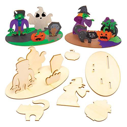Baker Ross 3D-Bastelsets Halloween aus Holz (4er-Pack) - Gruselige Bastelhandwerk für Halloween