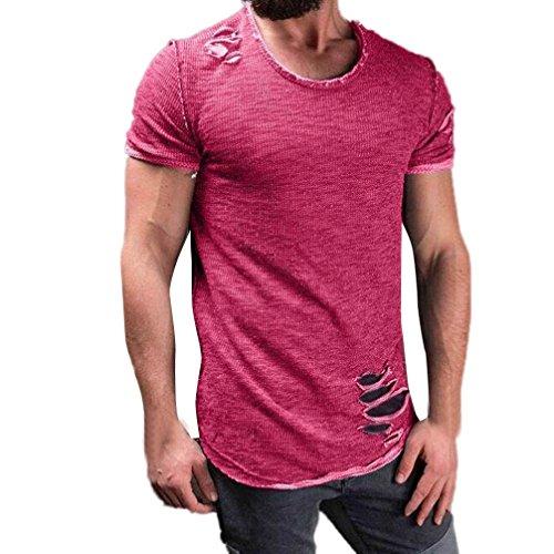 Feixiang® t-shirt uomo fori maniche corte irregolari collare tops maglia magliette casual moda camicia manica corta da uomo collo alto comodo maglietta del foro di modo degli uomini (rosa caldo, l)