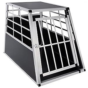 WOLTU #346 Chenil en aluminium, boîte de chien,chien cage voiture cage de chien, 1 porte de caisse de chien en 4 taille Blanc Argent