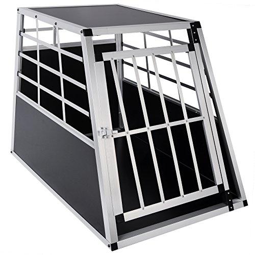 Woltu ht2010 gabbia animali auto casse box per viaggio in alluminio e mdf trasportino per cane conigli parete smontabile nero 91x65x69cm