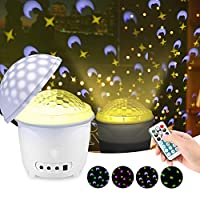 Night Light Projector, mimoday 2 in 1 Kids Night Lamp Projector Light with Remote Control, 4 Timer Setting, 4 Patterns, Mushroom Style Mood Nursery Lamp for Baby Kids Bedroom Living Room