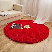 Alfombras, CAMAL Redonda Material de Lana de Seda Artificial Alfombras de Yoga para Sala de Estar Dormitorio y Baño (Rojo, 100cm)