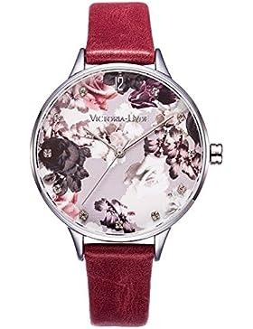 VICTORIA HYDE 7mm dünn Damen-Armbandhren mit Blume Zifferblatt Analog Quarz Sommer Uhr Leder Band Wasserdicht...