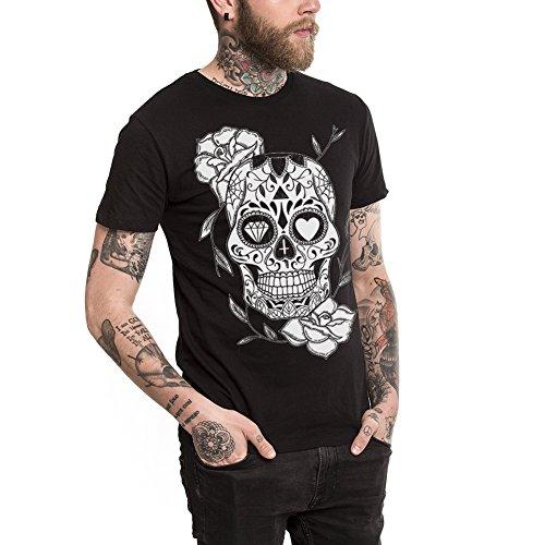 VIENTO The Mexican Skull Camiseta para Hombre (L, Negro)
