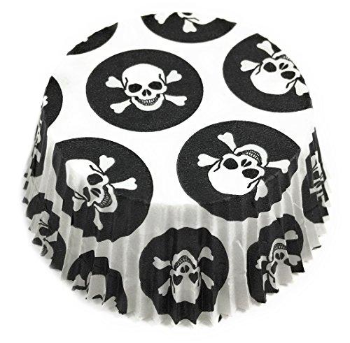 200 Stück Muffin und Cupcake Papierförmchen für Fasching / Karneval mit Totenkopf / Piraten Motiv in Schwarz-Weiß, Ø 5 - Einfache Halloween-leckereien Machen