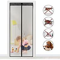 ZEUUE Fliegengitter Magnet Insektenschutz Fliegen Vorhang für Balkontür Wohnzimmer Klettband Fassung Schwarz Moskitonetzes für Terrassentür 110cm * 220cm