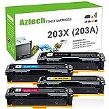 Aztech 4 Pack Kompatibel für HP 203X CF540X-CF543X 203A CF540A HP203A HP203X Toner für HP Color Laserjet Pro M281fdw MFP M281 fdw MFP M281fdn M280nw M280 M254dw M254nw M254, für CF541X CF542X CF543X
