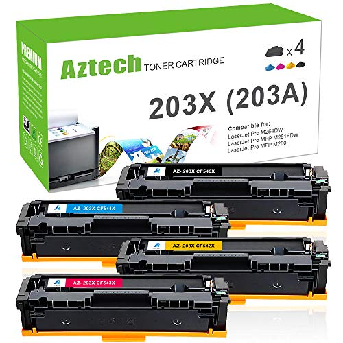 Colour Laserjet-laser-toner (Aztech 4 Pack Kompatibel für HP 203X CF540X-CF543X 203A CF540A HP203A HP203X Toner für HP Color Laserjet Pro M281fdw MFP M281 fdw MFP M281fdn M280nw M280 M254dw M254nw M254, für CF541X CF542X CF543X)