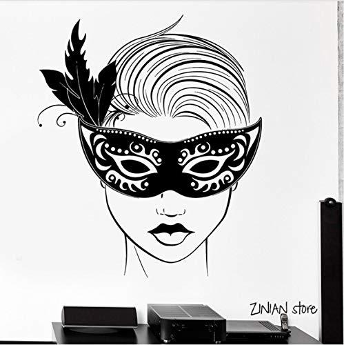 Wandaufkleber Karneval Maske Maskerade Wandtattoos Hot Girl Sexy Vinyl Wandtattoo Für Party Dekoration Tapete 56X65 cm