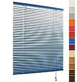 WOLTU VH5434 Jalousie Plissee Jalusie Schalusie, Aluminium, auch geeignet für Klemmfix, lichtdurchlässig easyfix, 25 mm Lamellen, blau, B 60cm x L 180cm