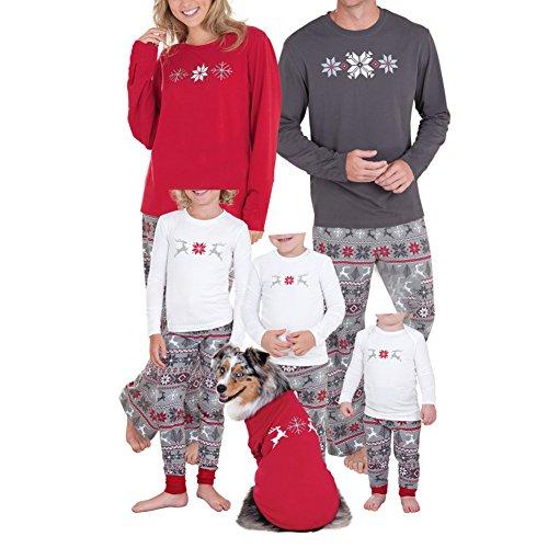 Chicolife Familie passende Weihnachten Pyjamas Schneeflocke Reh gedruckt Pjs Nachtwäsche-Sets für Familie (Ferien Outfits Weihnachts)