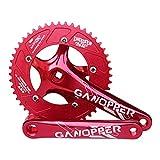 GANOPPER Guarnitura 48T 130 BCD 130mm Fixed Gear 175mm Single Speed Fixie Road Guarnitura Bicicletta Set cingoli Bicicletta (Rosso)